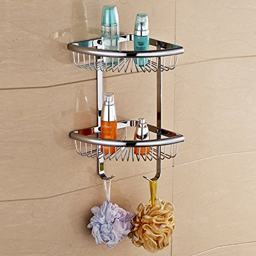 Solid Brass Products Wall Mounted Corner Triangle Shower Wire Basket 2 Tiers Shower Caddies Storage Cosmetic Holder Bathroom Hardware (Chrome Finish) by GUMA