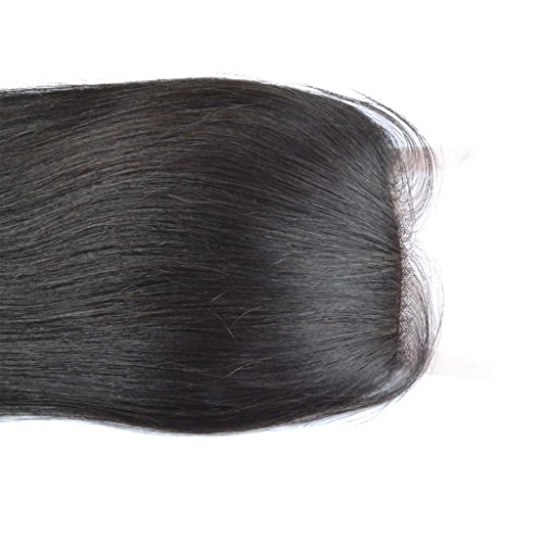"""Chantiche® Straight Invisible Knots Silk Base Closure Brazilian Remy Human Hair Extension Free Part 3.5x4"""" Natural Color 12 Inches"""
