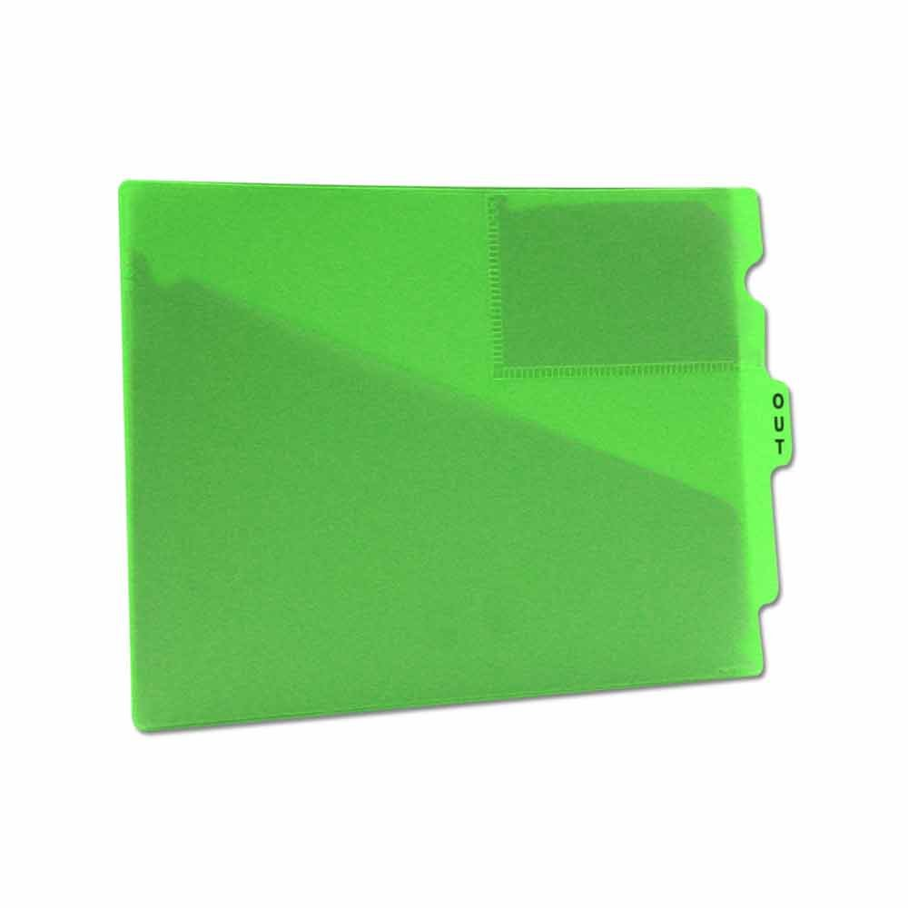 PDC Healthcare FC178GN Outguide, Center Tab, Letter Size, 2 Pockets, Vinyl, 12 7/8'' x 9 1/2'', Green (Pack of 25)
