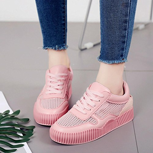 HLHN Women Running Shoes,Gym Shallow Mouth Mesh Cross Lace-up Sport Round Toe Beathable Fashion Casual Lady Pink