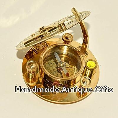 63ace121247a Calidad Premium náutico latón antiguo reloj de sol brújula w nivel de  burbuja
