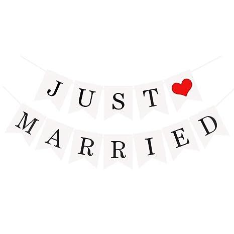 fc91d47427b6 JZK® quot Just married quot  Festone striscione banner bandierine carta  decorazioni per matrimonio o