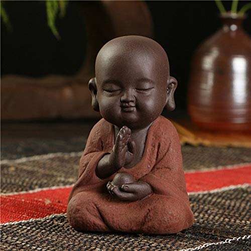Glass figurines Statues & Sculptures - Buddha Statues Small Monk Color Sand Ceramic Home Club geomantic Decoration Purple Sand Figurines Tea Pet 1 PCs -