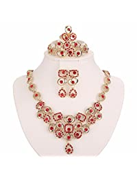 Moochi 18K Gold Plated Necklace Jewelry Set (Red)