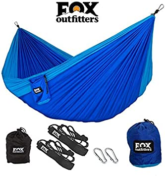 Hammock Straps /& Steel Carabiners Included Lightweight Portable Nylon Parachute Hammock for Backpacking Travel Yard Beach Fox Outfitters Neolite Double Camping Hammock
