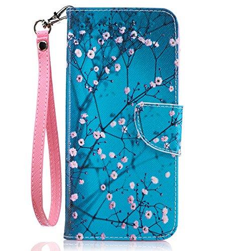 Galaxy S8 Plus Case, S8 Plus Wallet Case, JanCalm [Wrist Strap][Kickstand][Card/Cash Slots] Pattern Premium PU Leather Phone Cases Flip Cover for Galaxy S8 Plus + Pen (Plum blossom)
