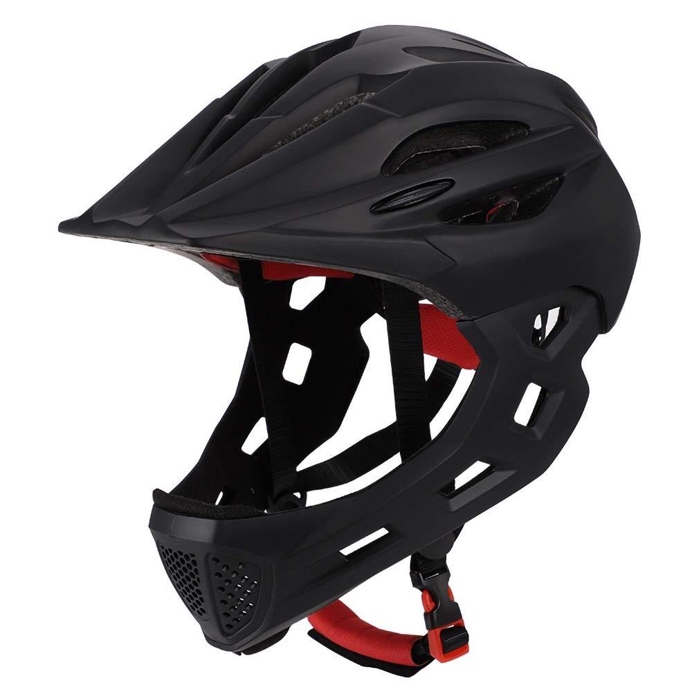 幼児用ヘルメット ダイヤルフィット調整機能付き、360度コンフォートシステム、青少年用サイズ、および子供用(45-55cm)の軽量マイクロシェル自転車ヘルメット (Color : Black)   B07Q588FPV