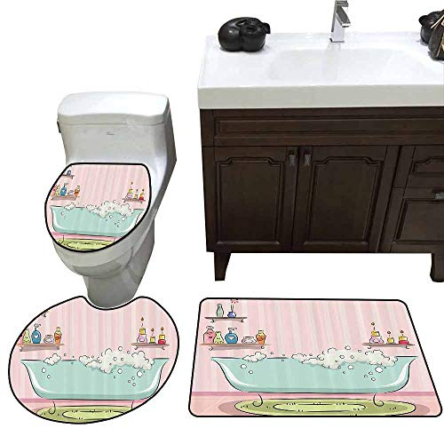 3 Piece Extended Bath mat Set Teens Girls Women Decor Collection Illustration of Bathtub with Bubbles in Girly Room Aroma Oil Lamps Aromatherapy 3D Digital Printing Rug Set Pink ()