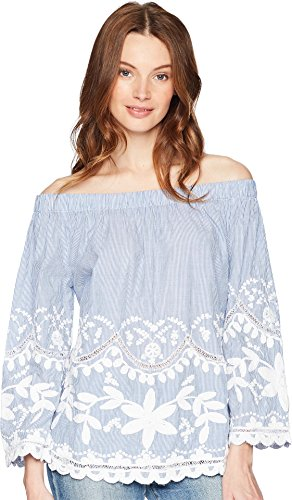 [BLANKNYC] Blank NYC Women's Striped Cotton Voile Off Shoulder Top with Embroidery Just My Stripe Large