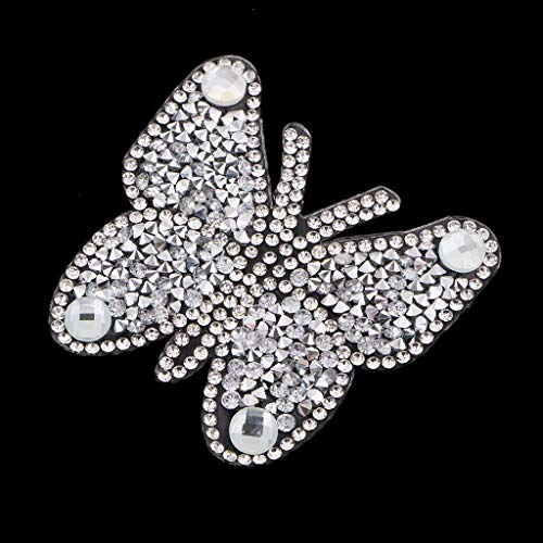- Rhinestones Diamond Patch for Clothes Sew on Bag Shoes Applique | Color - Silver+White