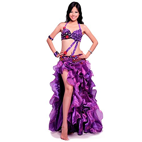 ROYAL SMEELA Belly dance Costume Set Professional Dress Suit For Women beaded Bead Bra and Belt Skirt (Belly Dance Costumes Large Ladies)