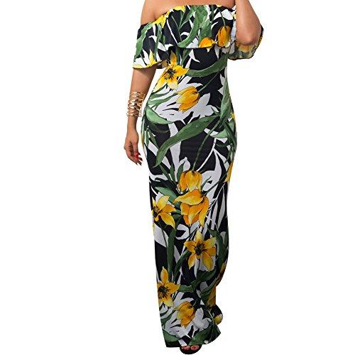 Bodycon4u Femmes Au Large Des Volants D'épaule Maxi Imprimé Floral Plage Tulipes Robe Longue