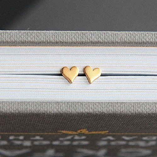 Tiny Heart Post Earrings • 24k Gold Dipped • Long Distance Love Gift • Christmas . Birthday . Deployment . Personalized Jewelry • Custom Quote Card (Christmas Love Quote)