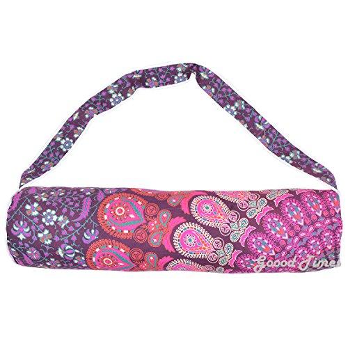 Handmade Mandala Cotton Yoga Mat Bag with Shoulder Strap (Purple)