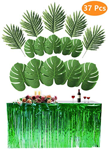 9Ft Foil Fringe Table Skirt with 36 Pcs Artificial Palm Monstera Leaves for Tiki Aloha Beach Hawaiian Luau Party, Jungle Moana theme Birthday Party Decorations