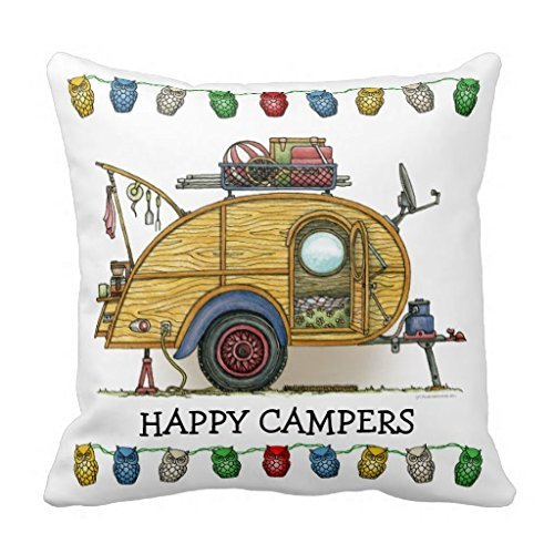 UOOPOO Cute RV Vintage Teardrop Camper Travel Trailer Pillows Covers 18
