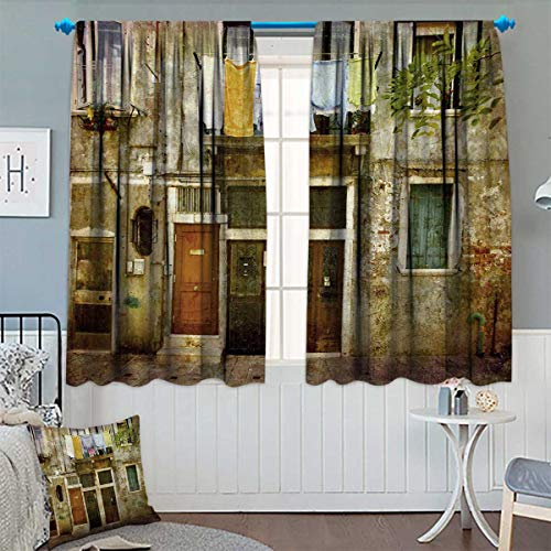- Chaneyhouse Venice Patterned Drape for Glass Door Old Weathered Building Facade with Hanged Clothes Murano Island Grunge Architecture Waterproof Window Curtain 63