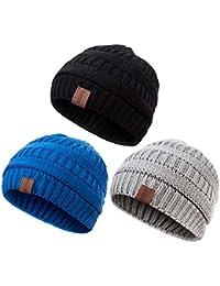 Baby Kids Winter Warm Fleece Lined Hats 8e76173ccd8