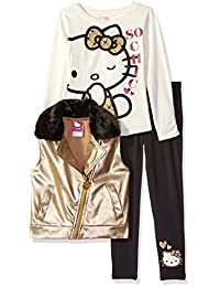 Hello Kitty girls Embossed Pleather Moto Vest With White Top and Black Legging