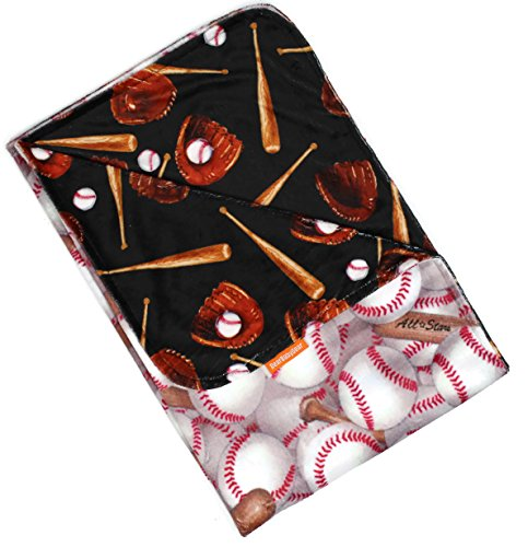 e Reversible Baby Blankets, Custom Minky Print Baseball Bat Glove, 38 Inches by 29 Inches (Baseball Baby Blanket)