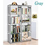 4 Tier Bookshelf Adjustable Bookcase Storage Bookshelf with 8 Book Shelves, Storage Cube Book Shelves Organizer Shelf (Gray)