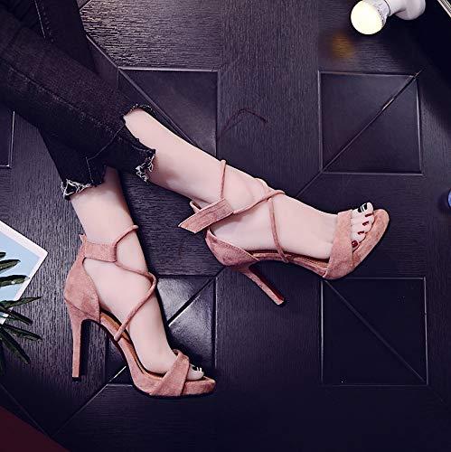 GTVERNH Frauen Schuhe Sandalen Die Krawatten Sexy Sexy Sexy Fein Hacken 10Cm High Heels Zehen Wasserdicht Tabellen Damenschuhe Mode. ebef67