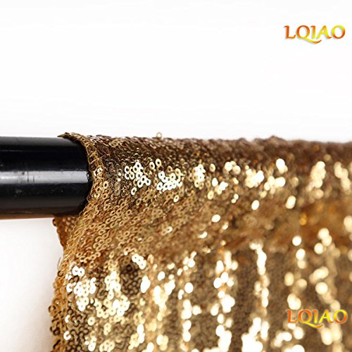 LQIAO Sequin Backdrop Curtain Panel 2x8FT-Gold,Sequin Photography Backdrop Curtain for Party/Home Curtain Decoration 1pc, Pocket 2x8FT(60x245cm)) (2 Gold Panels Curtains)