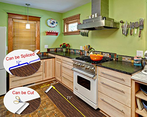 ChasBete Non-Slip Kitchen Floor Mat Slip Resistant Home Hallway Bathroom Runner Indoor Carpet Outside Door Rug Thin Cushioned Waterproof Heavy Duty Sticker(Wood Grain) by ChasBete (Image #1)