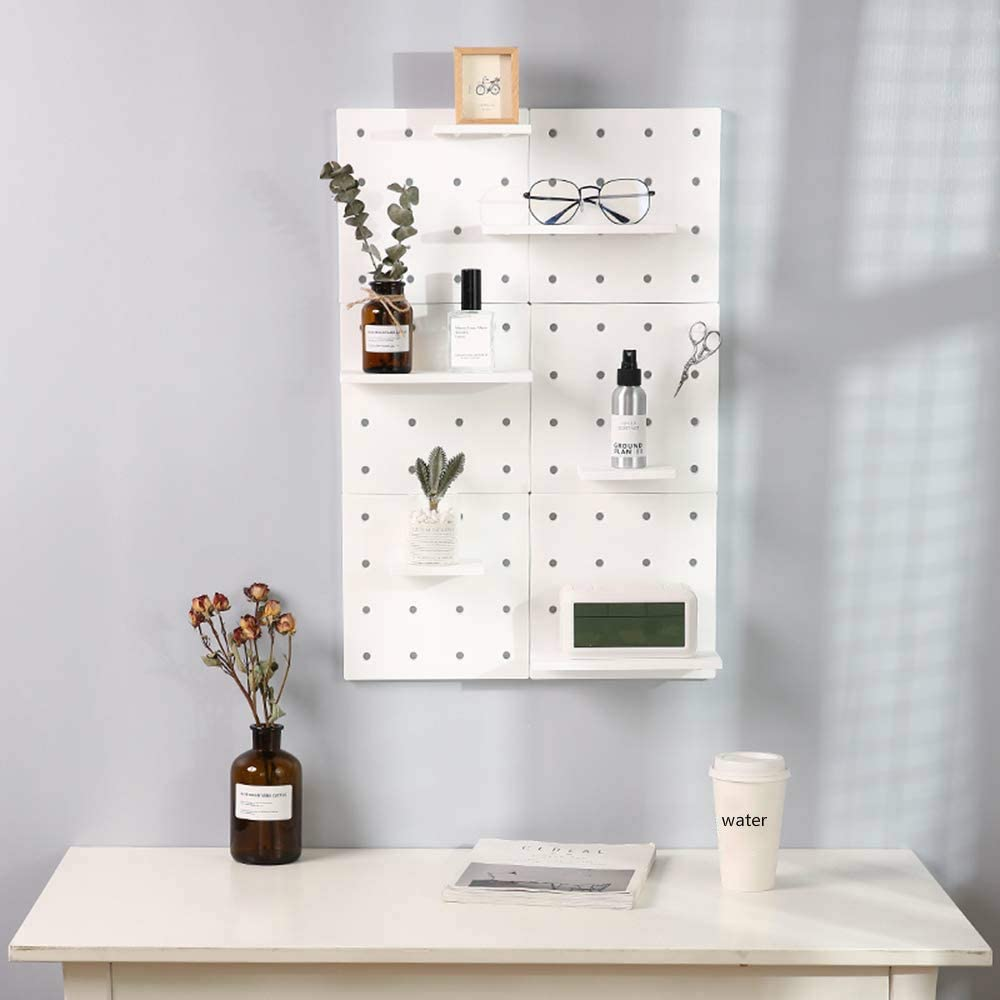 Wall Plastic Decorative DIY Convenient Pegboard Wall Mount Display Wall  Organization Storage Wall Shelf for Living Room Kitchen Bathroom Office  ,Set ...