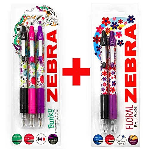 (Zebra Z-Grip Funky Floral Retractable Ballpoint Pens - 1.0mm - 2 x Black, 2 x Purple and 1 x Pink - 2 x Blister Packs - 5 Pens)