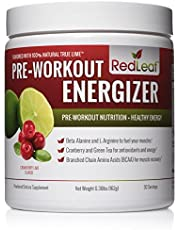 Red Leaf Pre-Workout Energizer Powder, Preworkout for Women and Men, BCAA's, Beta-Alanine, Amino Acids, Green Tea - 30 Servings