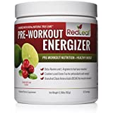 Rot Leaf Pre-Workout Energizer Powder, Preworkout for Women and Men, BCAA's, Beta-Alanine, Amino Acids, Green Tea - Natural Cranberry Lime Flavor, 30 Servings
