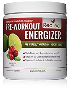 Red Leaf Pre-Workout Energizer Powder - BCAA's, Beta-Alanine, Amino Acids, Green Tea - Pre Workout Supplement with Natural Cranberry Lime Flavor, 30 Servings - Pre Workout for Women and Men
