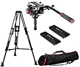 Manfrotto Pro Video Tripod Mid Level Spreader with 504HD Pro Fluid Video Head 75 + MB MBAG100PN Padded Case and 2 Free Ivation Video Quick Release Plates