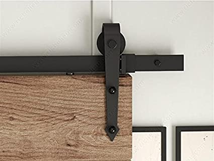 DIYHD 6FT Arrow Wheel Barn Wood Closet Door Black Rustic Sliding Track  Hardware
