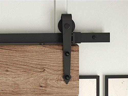 DIYHD 6.6FT Arrow Rolle Barn Wood Closet Door Black Rustic Sliding Track Hardware, 6.6 Feet Single ()