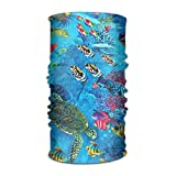 16-in-1 Multifunctional Headwear Magic Scarf Marine Fish Turtle Print Neck Gaiter Headband Bandana For Motorcycle Running Fishing Hiking Workout Yoga Fitness Cycling Exercise