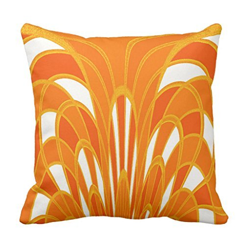 (Mushroom Abstract Art Deco Tangerine Sofa Pillow Cover Decorative Couch Cushion Cover for Living Room Canvas Slipcover 16 x 16)