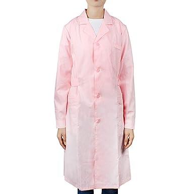Andux Zone Traje de Enfermera de Uniforme de Manga Larga de Laboratorio Rosa HSF-01