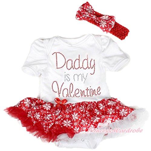 Father Day Princess Bodysuit Red Snowflake Tutu Baby Dress Girl Clothing Nb-18m (3-6month)