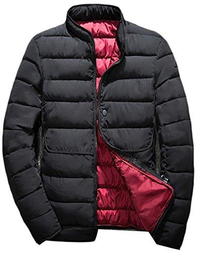 today-UK Men's Hooded Down Jacket Winter Packable Lightweight Warm Casual Down Coat Black