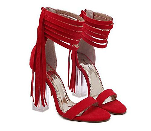 Borla 34 Heel Cremallera de de De Sandalias Cristal Red Borla Sandalias la Vestir 40 Transparente Moda Correa Mujer Chunkly UE 11CM Abierto tobillo Tamaño Zapatos qwtzvHBH