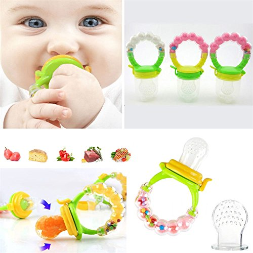 - 2 Pack Baby Fruit Food Feeders, Baby Pacifier Soft Silicone Infant Teething Toys Mesh Teether Baby Feeding Supplies For Frozen Foods Fresh Fruits And Vegetables