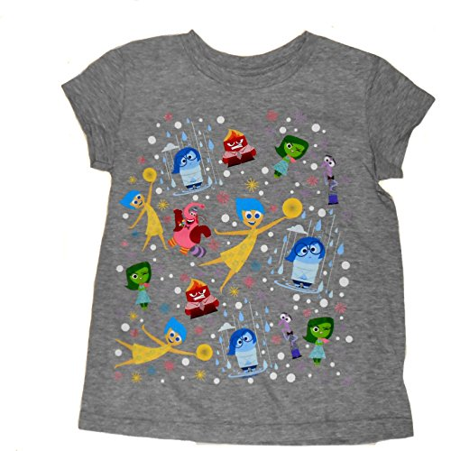 Disney Pixar Big Girls Inside Out Character Tee Medium 7/8 Grey