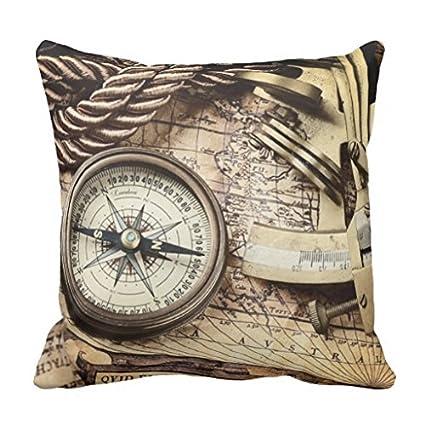 Brújula y navegación cartas náuticas manta funda de almohada ...