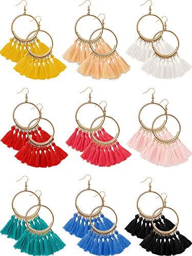 9 Pairs Tassel Hoop Earrings Bohemia Fan Shape Drop Earrings Dangle Hook Eardrop for Women Girls Party Bohemia Dress Accessory (Multicolor - Necklace Fringe Earrings
