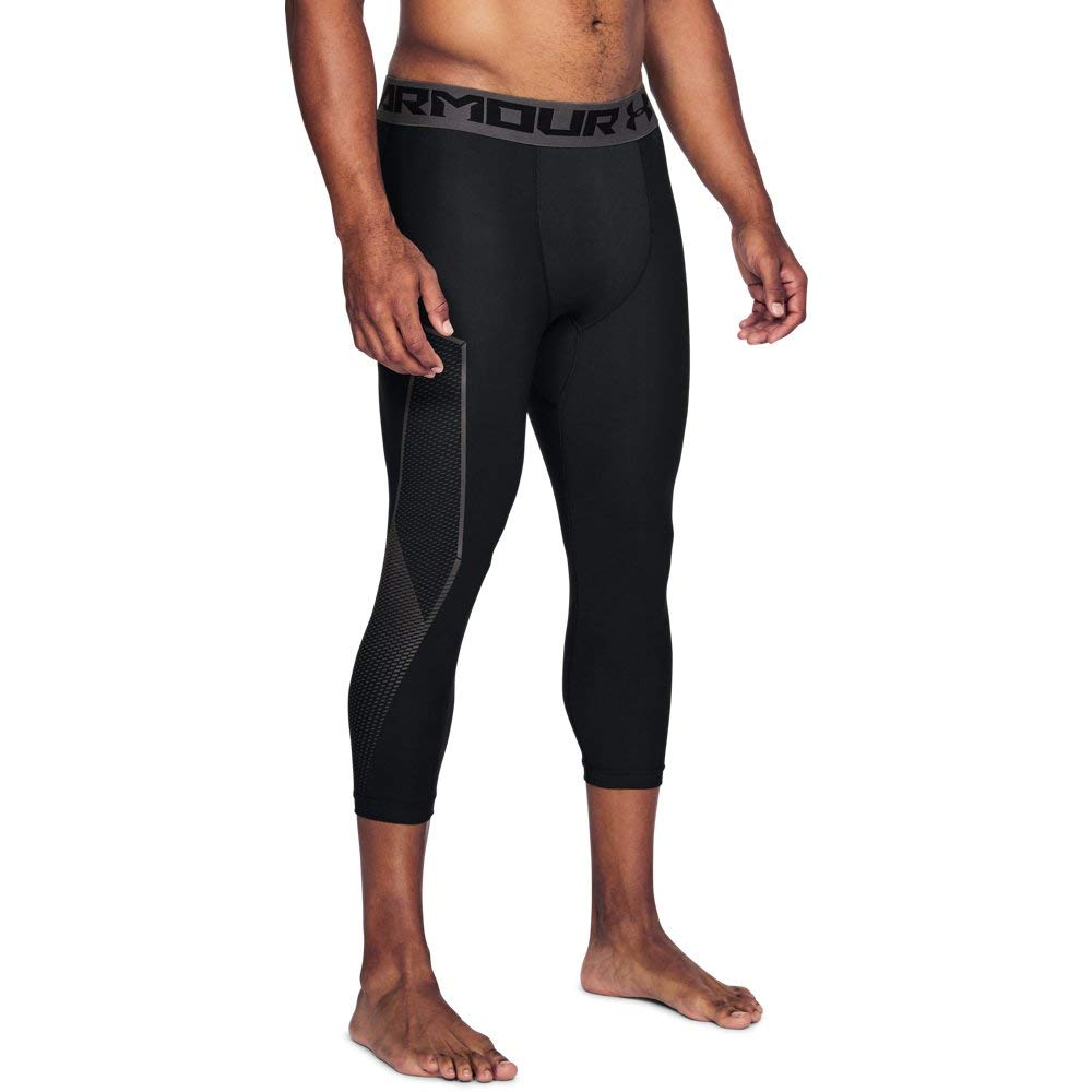 Under Armour Men's HeatGear Armour Graphic ¾ Leggings, Black (001)/Charcoal, Small