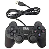 Poulep USB Pc Computer Vibration Shock Wired Gamepad Game Controller Joystick Game Pad (Black)