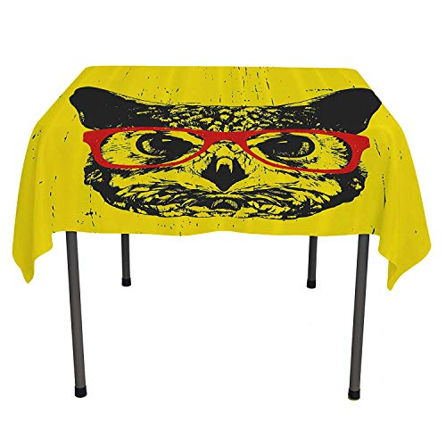 Modern Picnic Cloth Owl with Glasses Portrait Hipster Nocturnal Animal Grunge Humor Graphic Dark Grey Yellow Red Table Cloth Picnic Outdoor Spring/Summer/Party/Picnic 36 by 36