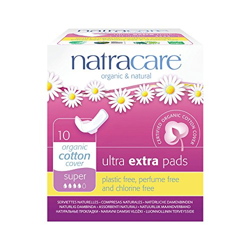Natracare Organic Cotton Ultra Extra Super Pads with Wings 10 per pack (PACK OF 6)